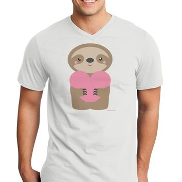 Cute Valentine Sloth Holding Heart Adult V-Neck T-shirt by TooLoud