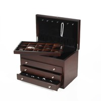Wallace Large Jewelry Chest with 3 Drawers Dark Walnut