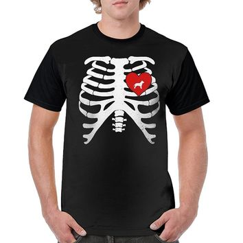 Skeleton Rib Cage With Pitbull Heart T-shirt For Dog Lovers