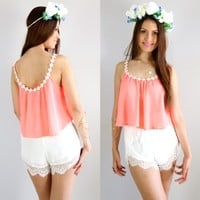 FESTIVAL NEON DAISY NECKLINE SWING SCOOP BACK DRAPE GRECIAN CROP TOP 6 8 10 12