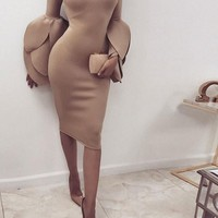 Khaki Bodycon Petal Cuff Round Neck Elegant Prom Evening Party Midi Dress