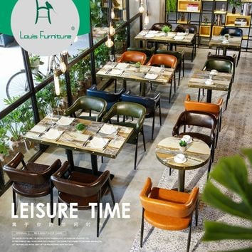 Louis Fashion Cafe Furniture Sets Table and Chair Combination Dessert Shop Milk Tea Shop Theme Western Restaurant Hotel Cold