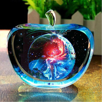 Clear Rare Crystal Glass Apple Model Figurines Paperweights natural stones and minerals Photo Customized Crystals For Home Decor
