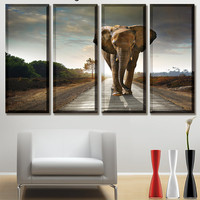 Elephant, Elephant art, Elephant canvas, elephant picture, African elephant, sunset, elephant print, printing office, art canvas