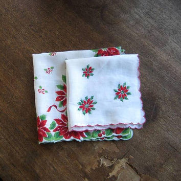 2 Vintage 1950s Christmas Hankies: Poinsettia/Bell Print Hankie + Embroidered Poinsettia; U.S. Shipping Included