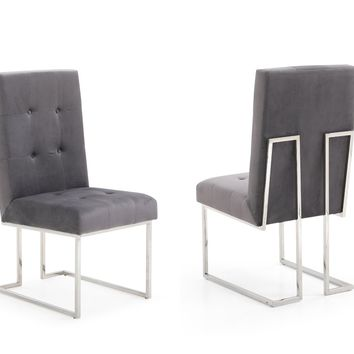 Modrest Legend Modern Grey Fabric & Stainless Steel Dining Chair (Set of 2)