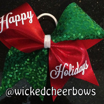 Cheer Bow - Red, White & Green Sequin X-Mas Bow