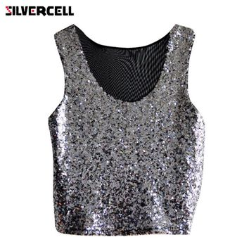 SILVERCELL Sexy Women Summer Paillette Camisole Crop Top Sequins Tank Top Vest Sleeveless Blouse T-Shirt Shining