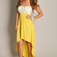 Dreamy Yellow Strapless High Low Maxi Dress