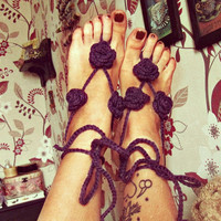 Gypsy Barefoot Sandals -  Bohemian Foot Jewelry -  Floral Nude Shoes - Beach Sandals - Hippie Boho Barefoot Sandals