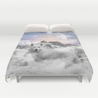 The Soul That Sees Beauty (Winter Moon / Wolf Spirit) Duvet Cover by soaring anchor designs ⚓ | Society6