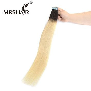 LMF78W MRSHAIR T1B/613 Ombre Hair Tape In Hair Extensions 20pcs Non Remy Human Hair On Adhesive Skin Weft Hair Straight 22Inches