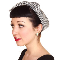 Black White Houndstooth Fabric Head Wrap Scarf