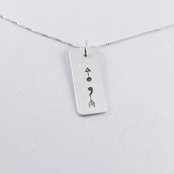 Semicolon with Arrow - Sterling Silver Necklace