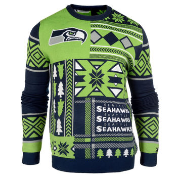 Seattle Seahawks Forever Collectibles KLEW Patches Ugly Sweater Sizes S-XXL w/ Priority Shipping
