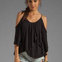 James & Joy Tanya Open Shoulder Batwing Top in Black from REVOLVEclothing.com