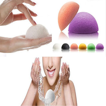 1pcs Natural Konjac Konnyaku Facial Puff Face Wash Cleansing Sponge Green Pink White 3color available