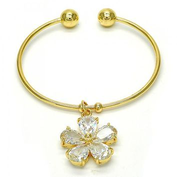 Gold Layered 07.63.0190 Individual Bangle, Flower Design, with White Cubic Zirconia, Polished Finish, Golden Tone (02 MM Thickness, One size fits all)