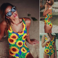 Sexy Push Up Monokini Sunflower Women Strap High Waist Bikini Set Female One Piece Swimsuit Beachwear Lady Bathing Suit Plavky -04101