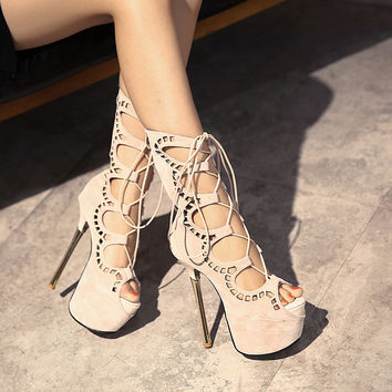 Julia Lace Up Stilettos