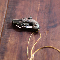 Flintlock Pistol Brass Gun Pocket Knife Necklace