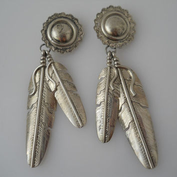 Sterling Silver 925 Dome Feathers Earrings Native American Large Clip On 3.75 in D Sterling