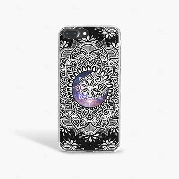 Jet Black iPhone 7 Case Clear iPhone 7 Plus Case Moon Sun Stars iPhone 7s Case Samsung Galaxy S8 Case Clear Mandala iPhone 7 Case