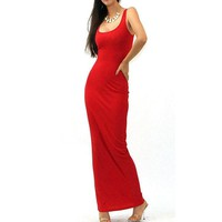 Brief Style Design Women Stretch Long Maxi Summer Dresses Minimalist Casual Solid Sleeveless Tank Sheath Slim Grown Dress 801