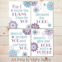 Nursery Art Prints Jeremiah 29:11 Purple Teal Decor Girls Bedroom Decor Inspirational Nursery Quote Baby Girls Room Girl Nursery Decor #0648