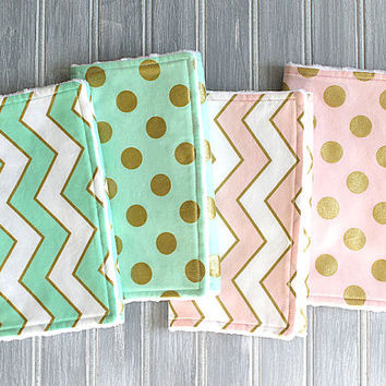 Gold, Pink and Mint Burp Cloth Set - Set of 4 Minky Burp Cloths - Light Pink and Mint Green with Metallic Gold Polka Dots and Gold Chevron