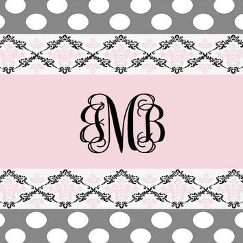 Customized Pink Damask Rug, Grey Polka dots, Monogram, Home decor, Nursery Rug