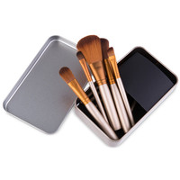 12pcs / Set Coffee Color Makeup Cosmetic Brushes Kit with Metal Storage Case