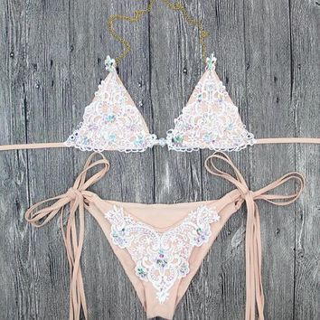 Sequin Set Lace Swimsuit Swimwear Beachwear Petit bikini curvy bikini bathingsuits