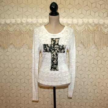 Womens Pullover Sweater Knit Top Beige Camouflage Cross Small Medium Edgy Goth Long Sleeve Tops Womens Clothing