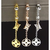 LV Single Drill Square Round Double Little Flower Titanium Steel Long Earring Earrings Accessories