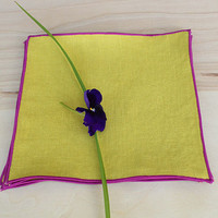 """Radiant Orchid and Warm Olive Cocktail Napkins, Orchid Cocktail Napkins, Custom Cocktail Napkins, / Party Cocktail Napkins / Set of 4/ 7"""" sq"""