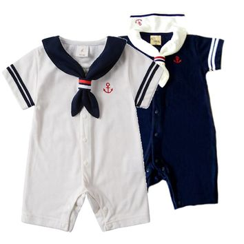 Hot White Navy Sailor collar Newborn baby clothes cotton baby rompers Short sleeve one-pieces jumpsuit baby boy girl clothing