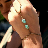 Luck Dog Fashion Retro Bronze Turquoise Bracelet Finger Bangle Slave Chain