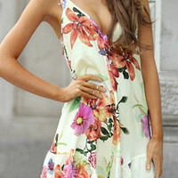 Floral Print Spaghetti Strap Open Back Mini Dress