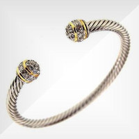 Cable Cuff Bracelet SilverTone Gold Bands Clear Crystal Cabochons BR-2305 TT