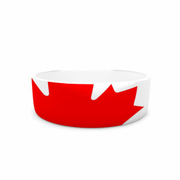 "Bruce Stanfield ""Flag of Canada"" Red White Pet Bowl"