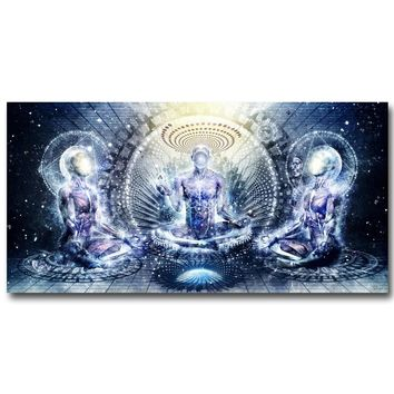Buddha Psychedelic Art Silk Fabric Poster Abstract Tapestry For Meditation Room
