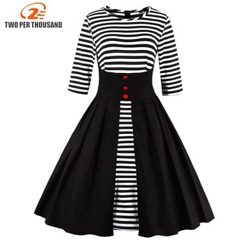 1950S 60s Sexy Women Spring Autumn Rockabilly Striped Dress Three Quarter Sleeve Cotton Vintage Tea 3XL 4XL Plus Size Dresses