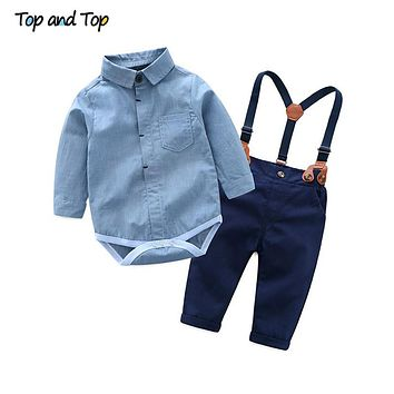 Toddler Baby Boys Gentleman Clothes Sets Long Sleeve Romper+Suspenders Pants Wedding Party Casual Outfits