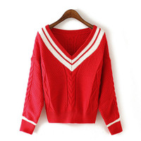 Red V-Neck Cable Knitted Sweater