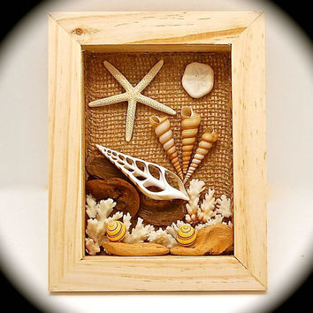 "Shellscape Shadow Box Handmade Wall Art 9.25"" Tall by 7.25"" Across by 1.75"" wide. Handmade One of a Kind Art-  Conversation Piece- UNIQUE !"
