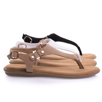 Tundra40S by Bamboo Comfortable Foam Padded Flat Thong Sandal Triangle Upper, Ankle Buckle