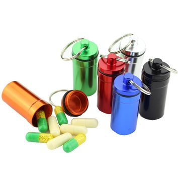 Waterproof Aluminum Pill Box Survival Capsule Medicine Bottle Keychain Storage Container Outdoor Camping Travel EDC Tool