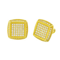Sterling Silver Yellow Gold Plated Mens CZ Stud Screwback Earrings 12mm