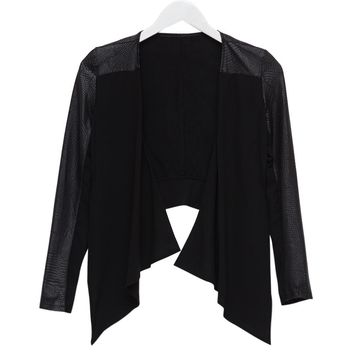 Stylish Collarless Long Sleeve Faux Leather Spliced Asymmetrical Women's Jacket